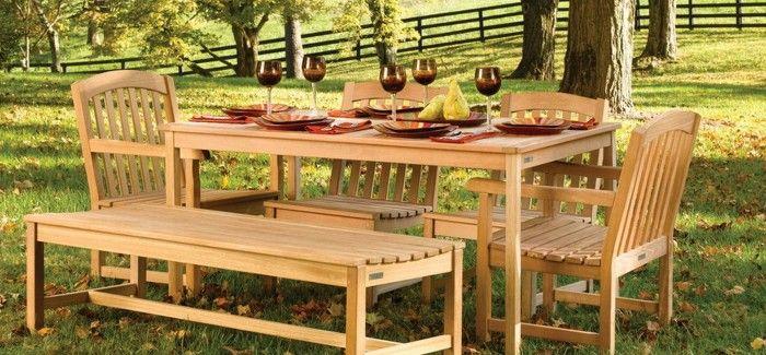 Teak Patio End Table Label Wood Doors Meja Taman Kursi Meja