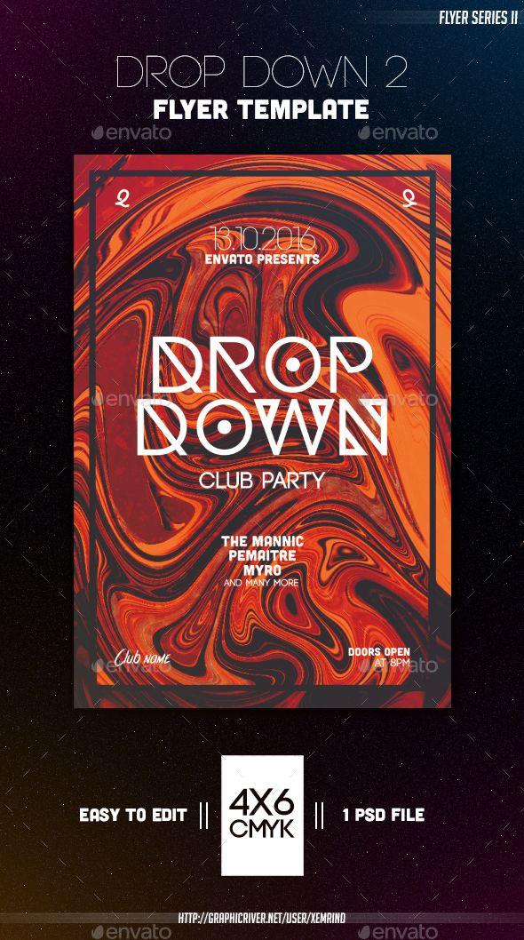 Drop Down 2 Flyer Template Modello di volantino, Volantini e Modelli - anniversary flyer