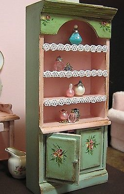 Miniature Dollhouse Furniture- Pink Perfume Shelves  1 in scale Signed by Artist