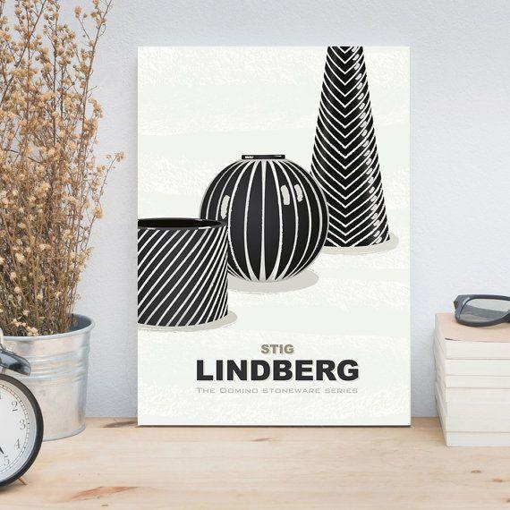 Kunst van de woonkamer, half eeuw moderne kunst poster met Scandinavisch design, Stig Lindberg steengoed, Domino serie vazen, keuken kunst