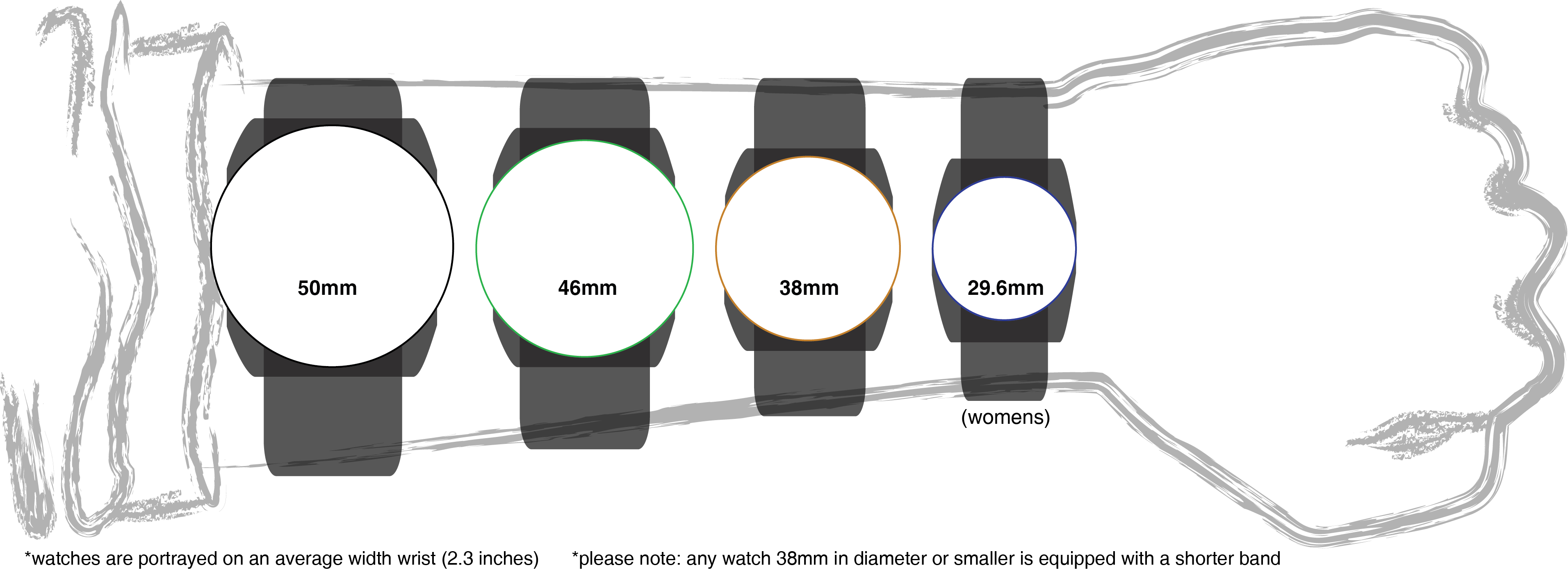 Watch size guide also things to know pinterest watches mens rh