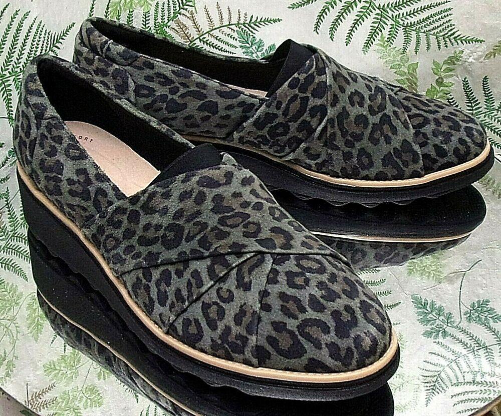 Clarks Leopard Print Black Loafers Slip Ons Comfort Dress Shoes Womens Sz 8 M Clarks Pump Businesscasualdresssc Dress Shoes Womens Dress Shoes Black Loafers [ 831 x 1000 Pixel ]