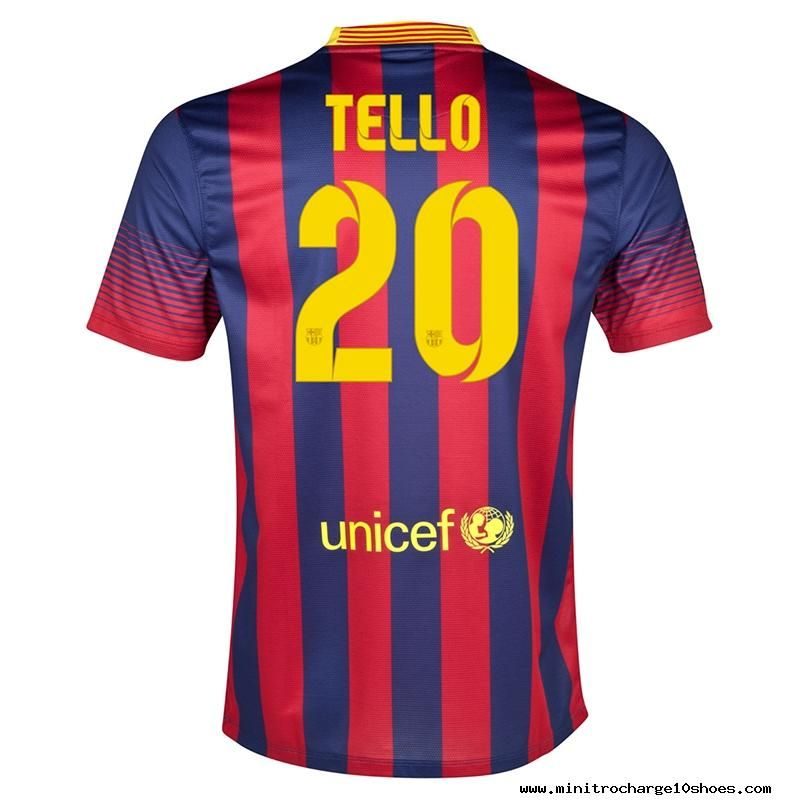 Nike FC Barcelona TELLO 20 2013-2014 Home Soccer Jersey Midnight Navy/Storm Red/Tour Yellow For Sale