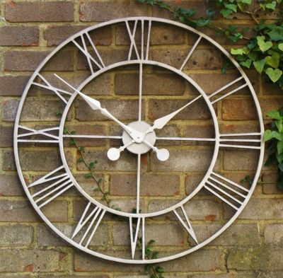 Silver Open Faced Metal Wall Clock 77cm 30 Metal walls Wall