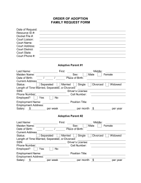 The Order Of Adoption Family Request Form Is A Free Printable With