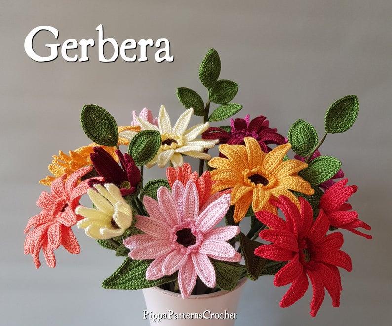 Crochet Gerbera Flower Pattern Plant Decoration Home Garden Flori Croșetate Floare Flori