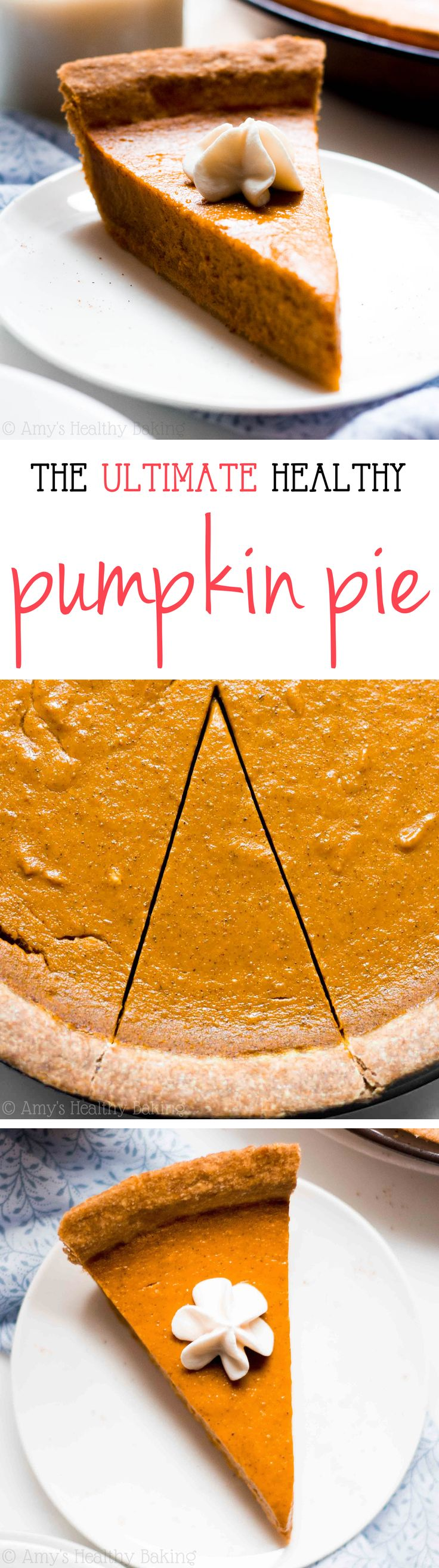 The ULTIMATE Pumpkin Pie -- this skinny pie doesn't taste healthy at all! You'll never need another pumpkin pie recipe again!