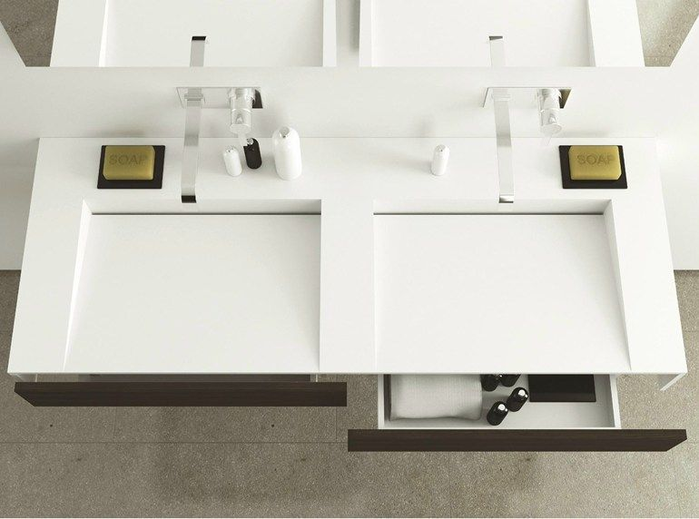 lavabo doble suspendido de corian con cajones slim wood moma design by archiplast