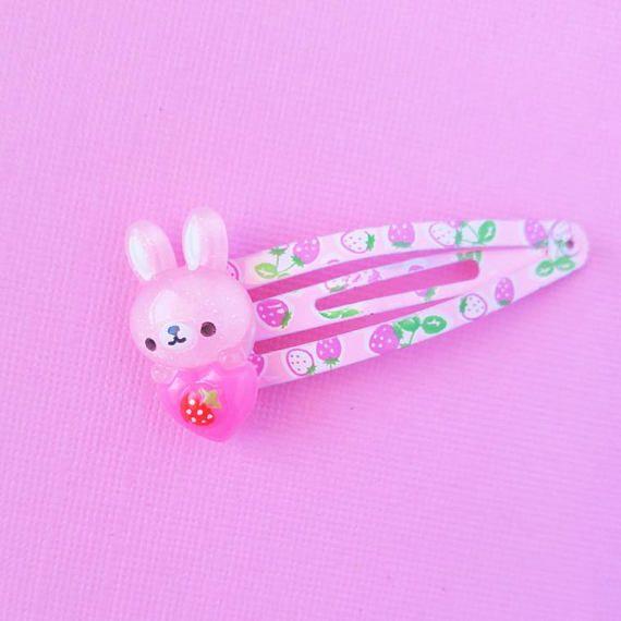Pink Bunny Hair Clip Cute Rabbit Hair Clips Bunny Snap Clip Cute Spring Hair Clips Kawaii Fairy Kei Kawaii Hair Clips Kawaii Accessories Cute Jewelry