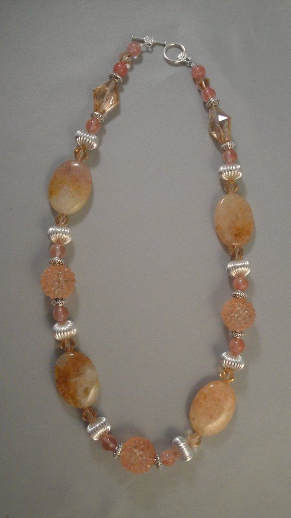 Photo of Golden Quartz Peach Glass Silver Beaded Necklace