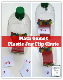 Math Games- Plastic Jug Flip Chute #plasticjugs Math Games- Plastic Jug Flip Chute #plasticjugs