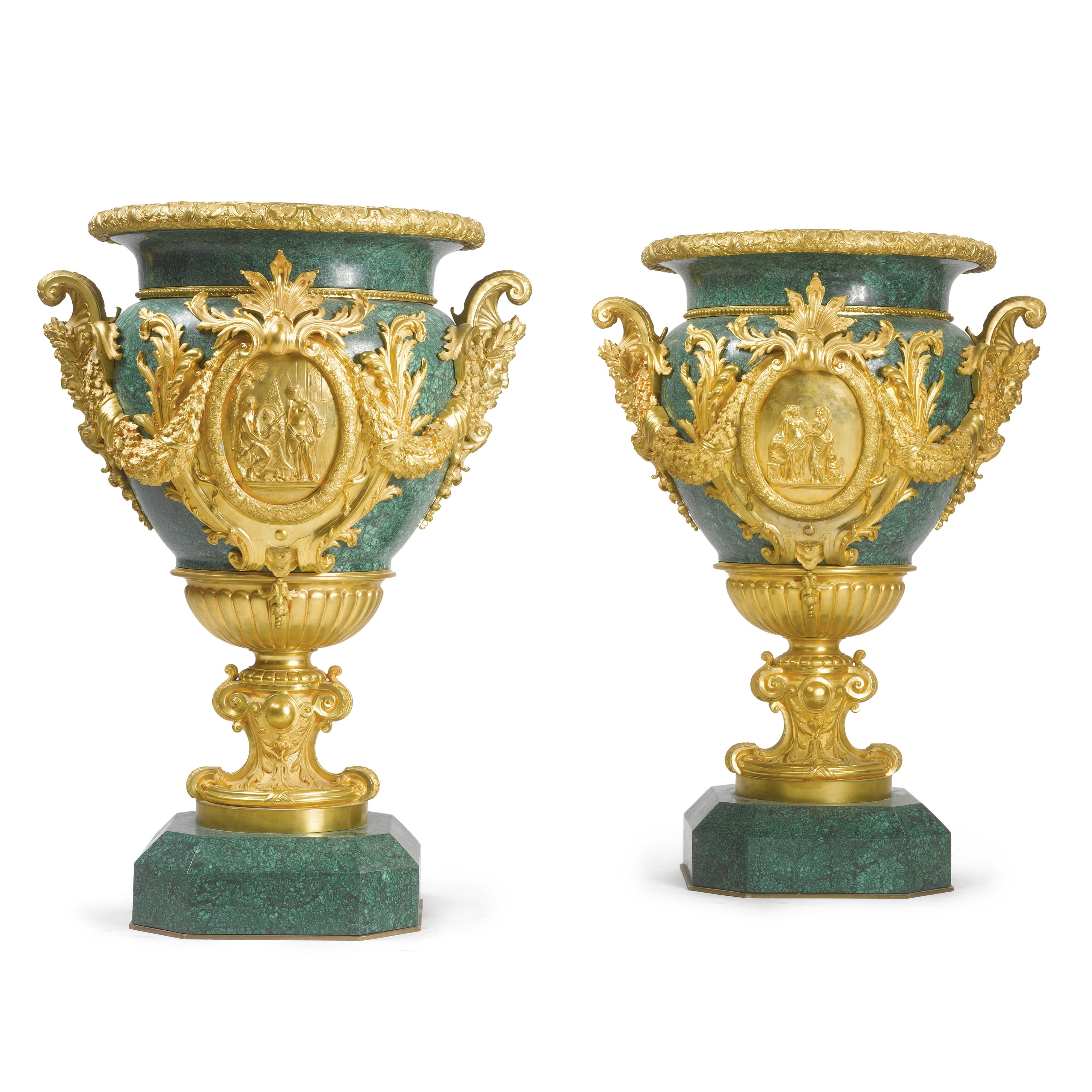 Large Decorative Vases And Urns Extraordinary A Very Large Pair Of Neoclassical Style Gilt Bronze And Malachite Design Inspiration