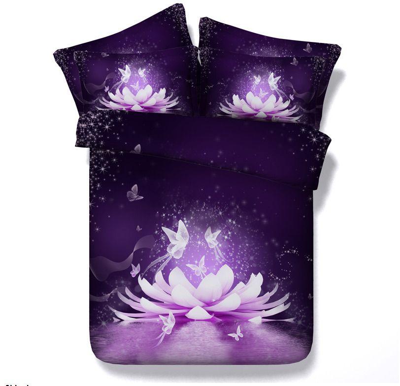 Queen King Size 3d Purple Lotus Flower Duvet Cover Bedding Set