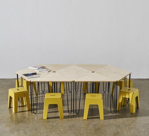 Fractal Dining U0026 Meeting Table | Timber Plywood Top | Powder Coat Metal  Legs | Triangle