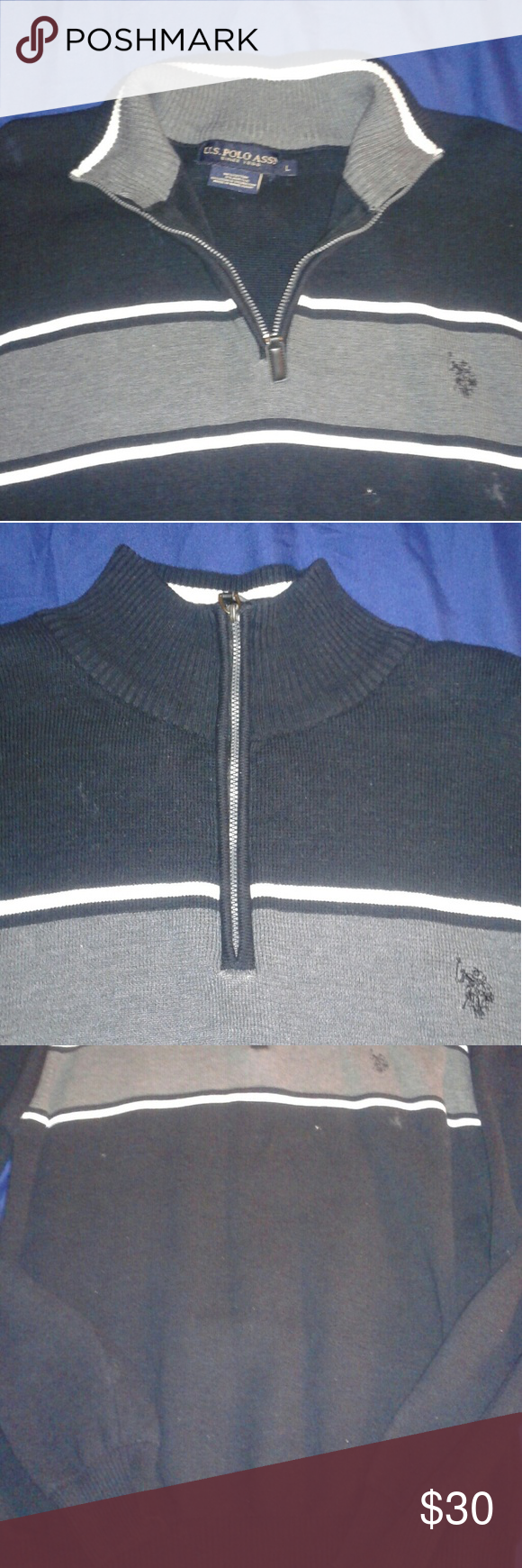 Polo sweater V-neck zipper, black with white and gray stripes U.S. Polo Assn. Sweaters V-Neck