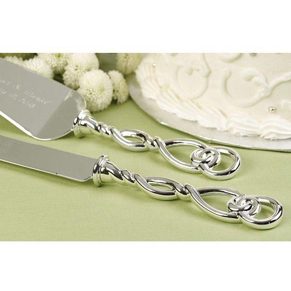 Engraved Celtic Love Knot Silver Cake Server Set   Wedding ...
