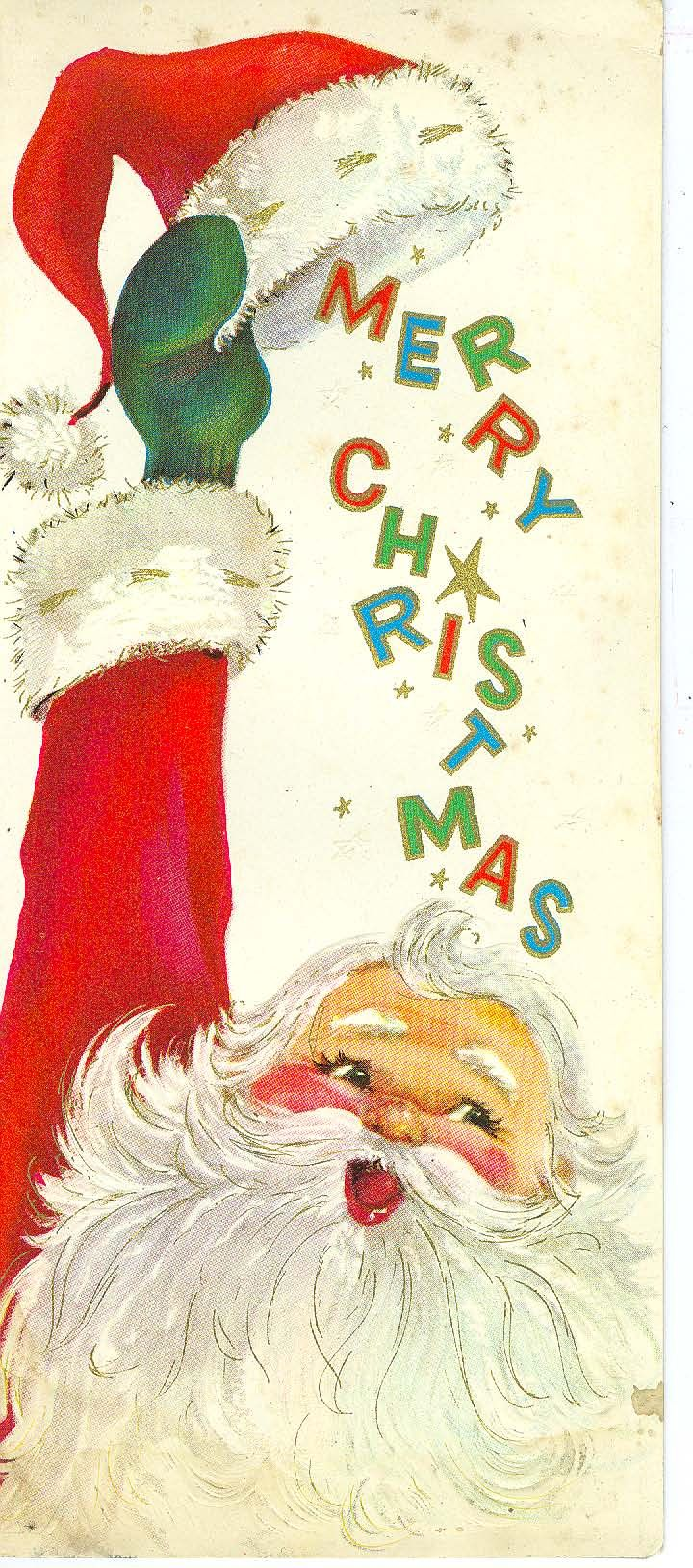 Hats off vintage christmas cards pinterest vintage greeting vintage christmas card santa merry christmas under hat m4hsunfo