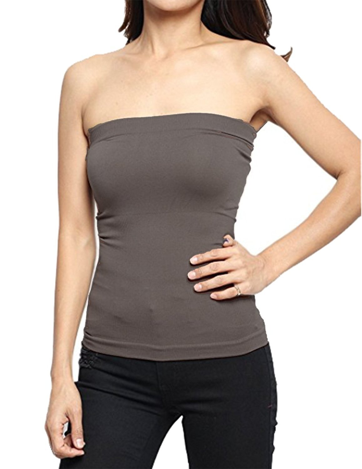 af2b0d51ef Hollywood Star Fashion Women s Plain Stretch Seamless Strapless Layer Tube  Top