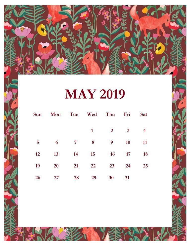 Pretty Calendars For February-May 2019 Print Beautiful May 2019 Calendar Template   filofax inspiration