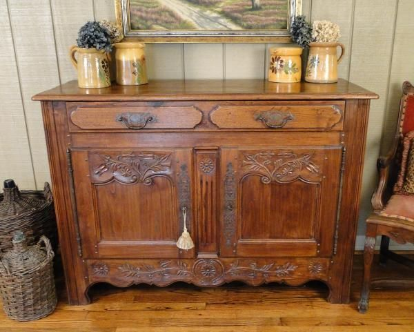 Antique French Country Buffet Sideboard Server Carved With Pegs C1880 So France Frenchcountryprovincial