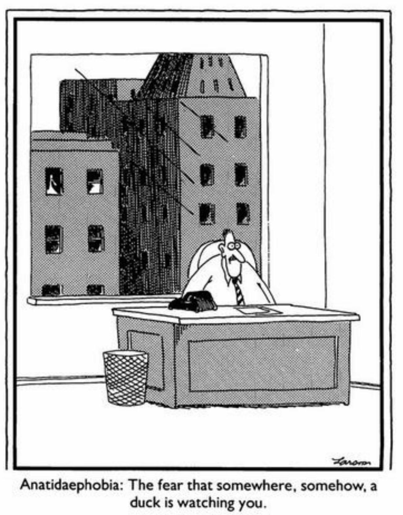 anatidaephobia | the far side | by: gary larson