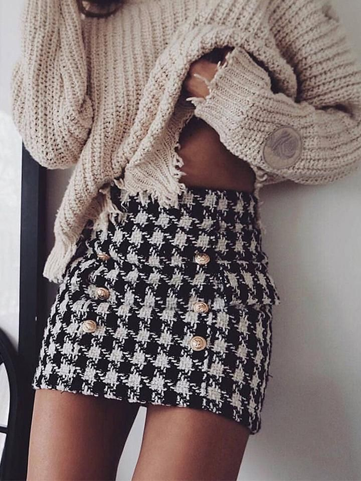 Button-Embellished Tartan Tweed Mini Skirt