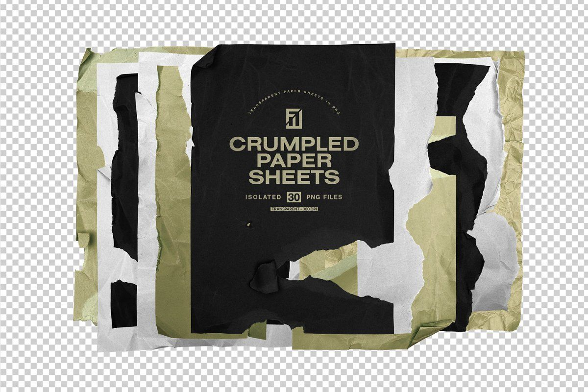 Crumpled Paper Sheets In Png Crumpled Paper Graphic Design Resources Abstract Poster