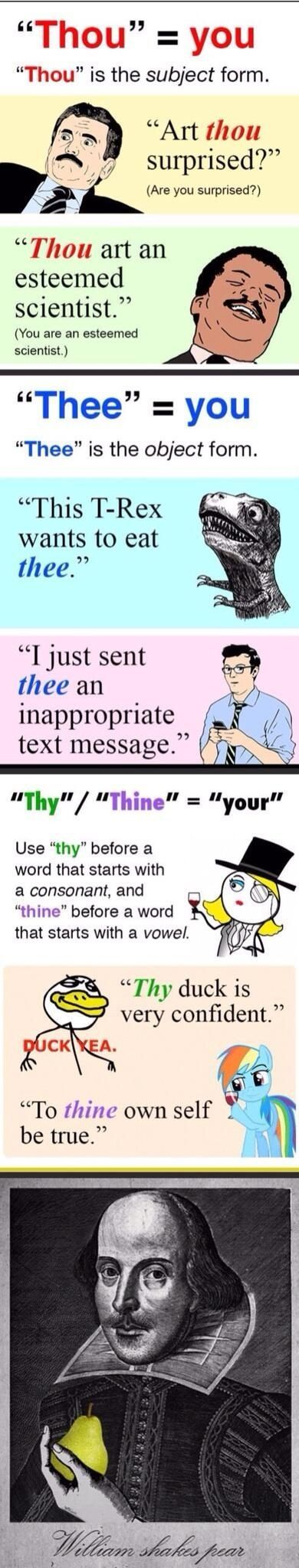 and here's the correct usage of 'thy' and 'thou' | world literature