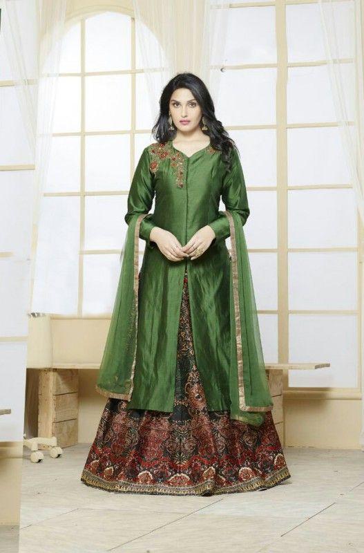 Green Banarasi Silk Designer Salwar Suit #boutiques #mall #style