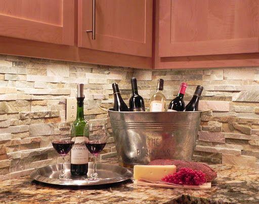 stacked stone backsplash dream home pinterest. Black Bedroom Furniture Sets. Home Design Ideas