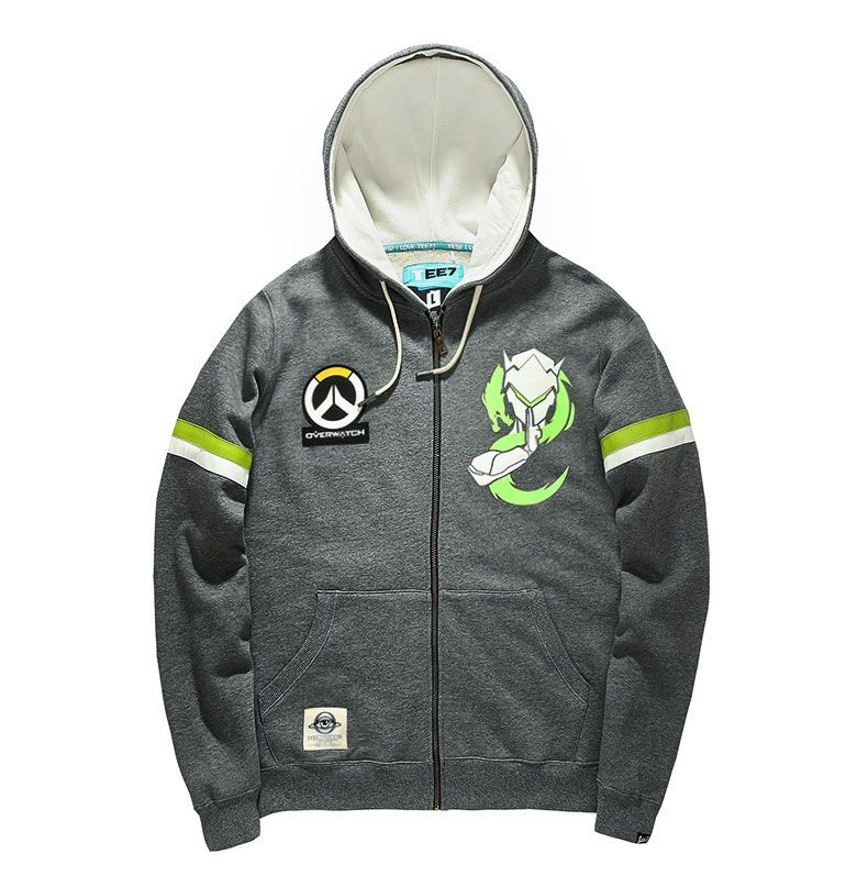 44e245257 Overwatch Genji Zip Up Hoodie Mens Gray Sweatshirt Cool | Blizzard ...