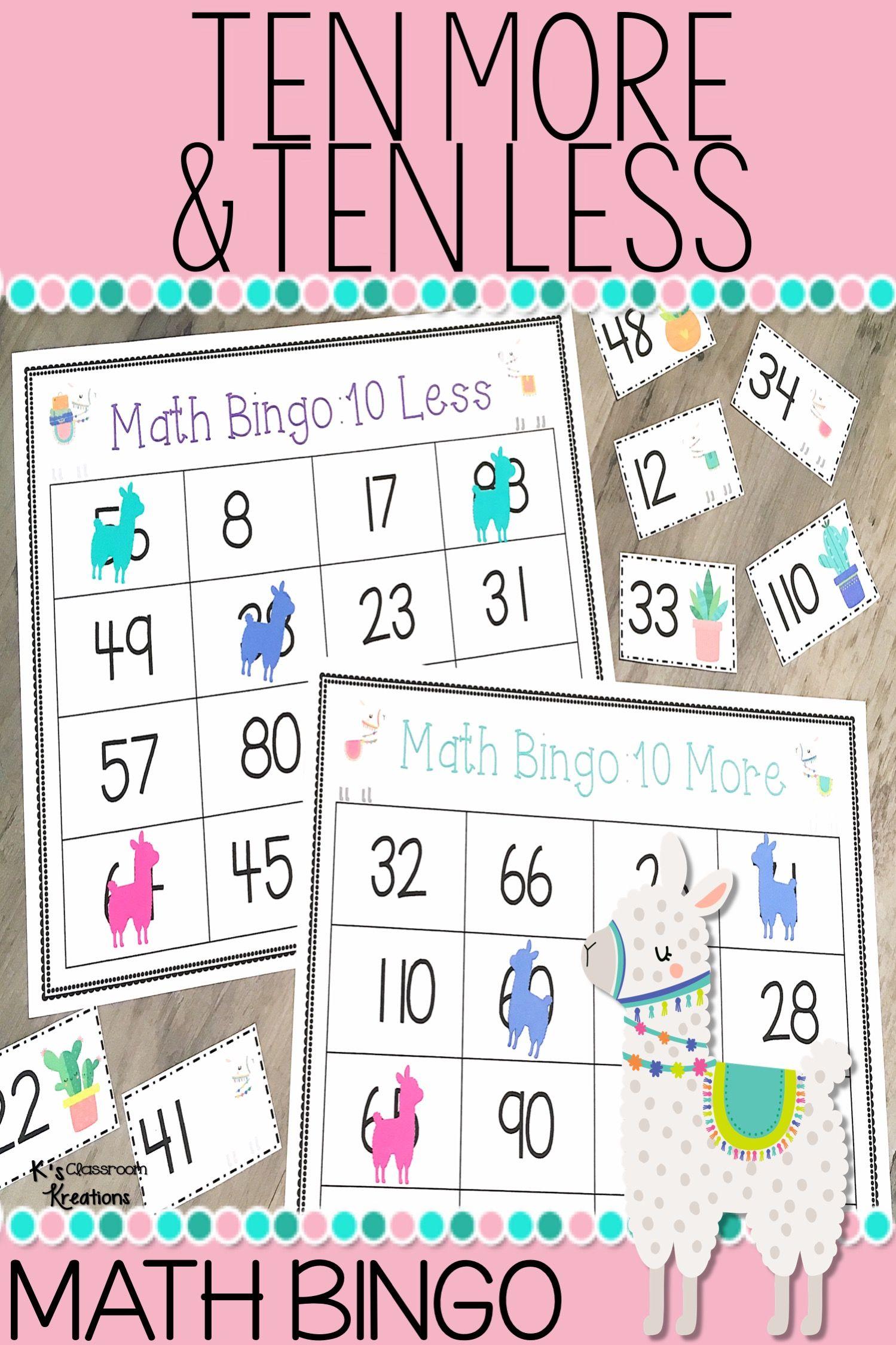 Ten More And Ten Less Llama Math Center For 1st Grade