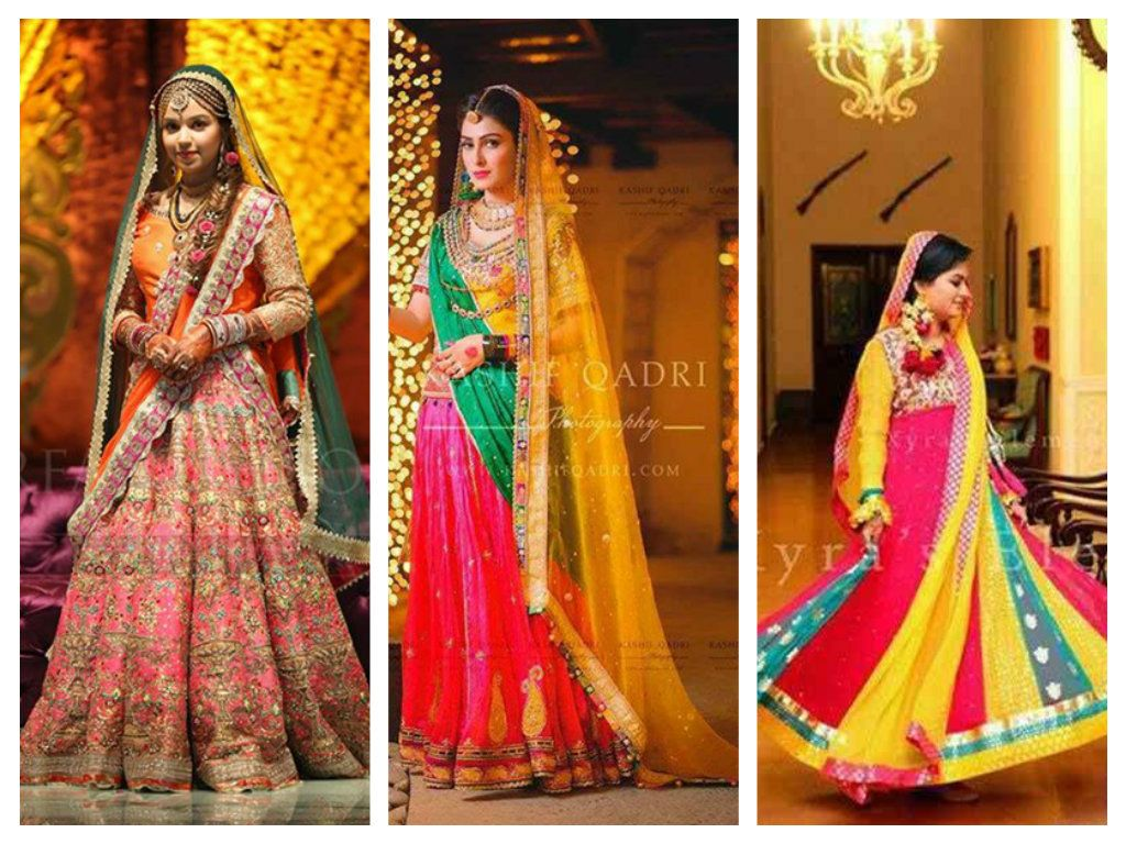 Mehndi Clothes For Brides : Mehndi dresses 2015 designs for pakistani brides bridal wear