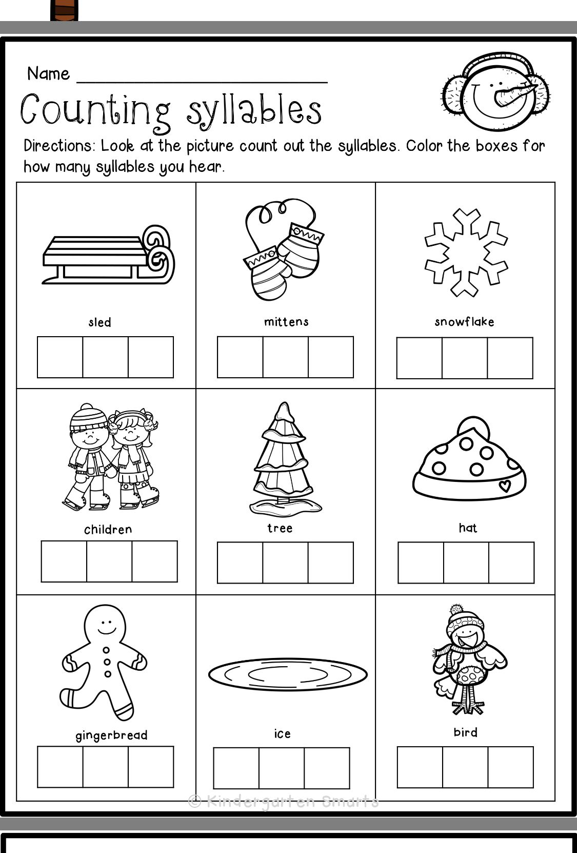 Pin By Missy Pitzer On A First Grade Syllable Worksheet Kindergarten Freebies Syllables Kindergarten