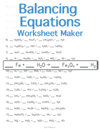 Balancing Chemical Equations Worksheet | Teacher's Pet | Teaching ...