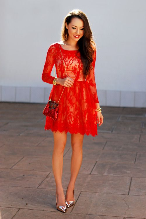 Red Lace Short Dress Fashion Dress Red Shoes Heels Fashion