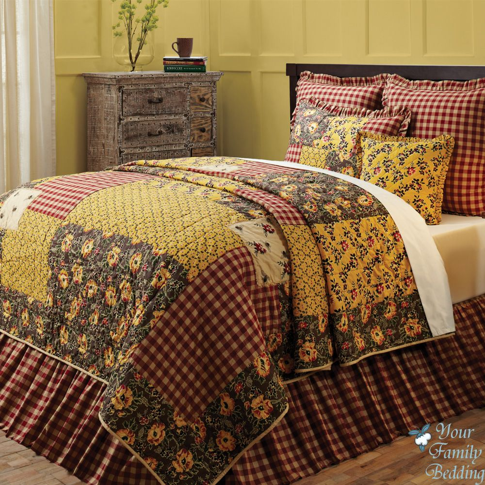 Red Country Cottage Floral Patchwork Twin Queen Cal King Size ... : king size quilt bedding - Adamdwight.com