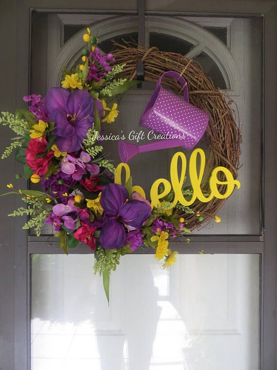 Photo of Made to Order Watering Can Grapevine Wreath / Front Door Wreath / Summer Decor / Garden Wreath / Monogram Door Hanger / Welcome Wreath / Seasonal Decor