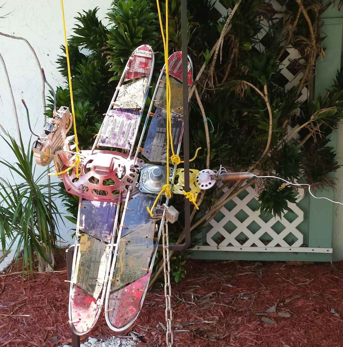 Dragonfly Using Recycled Speakers Circuit Boards Rebar And Recycling Electrical Components