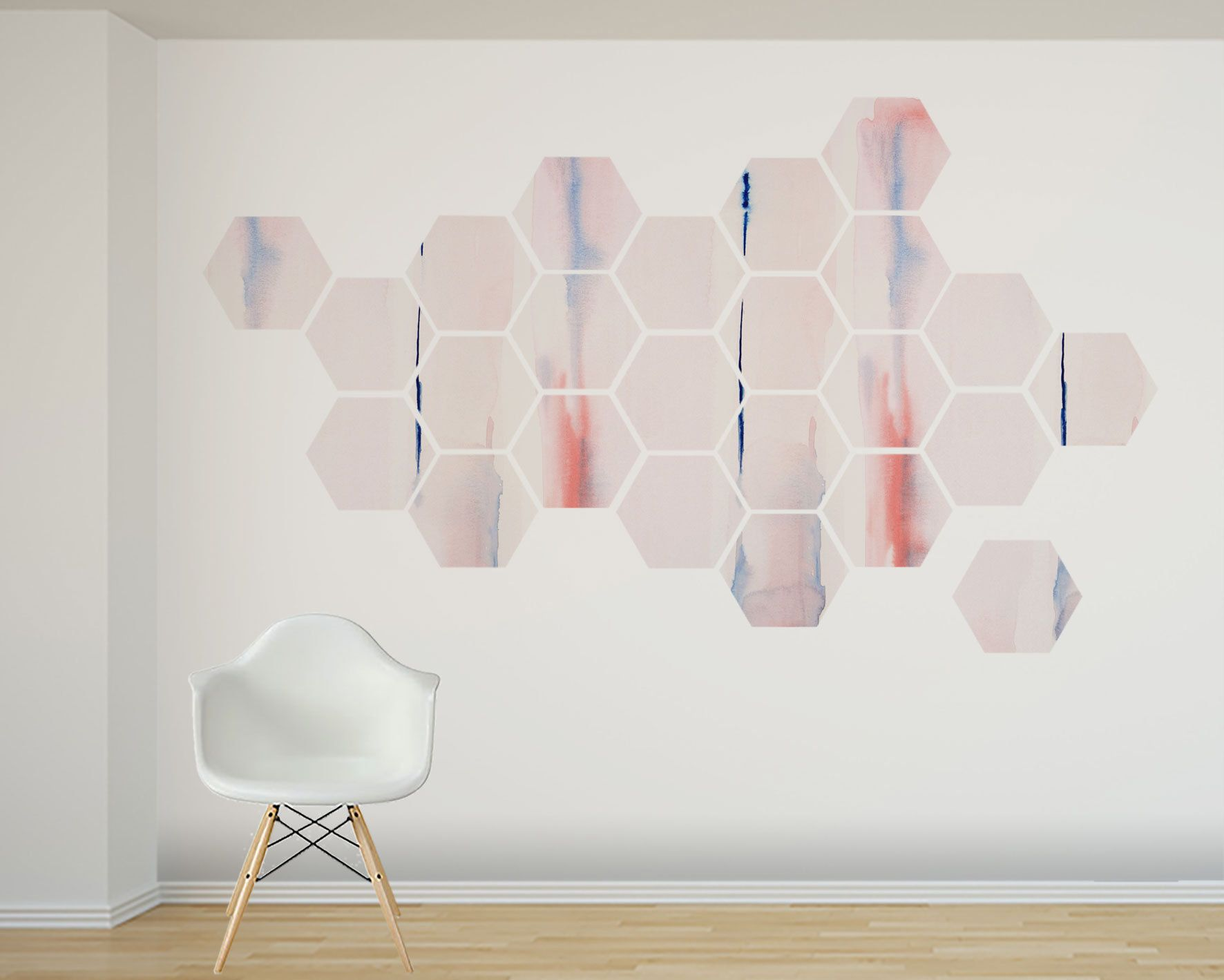 Blush Pink Watercolor Wall Decal 24 Removable Hexagon Shapes