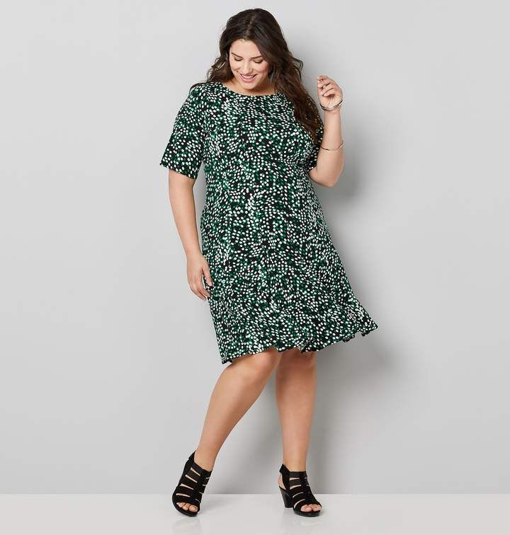 Avenue Plus Size Green Dot Fit And Flare Dress | Products in ...