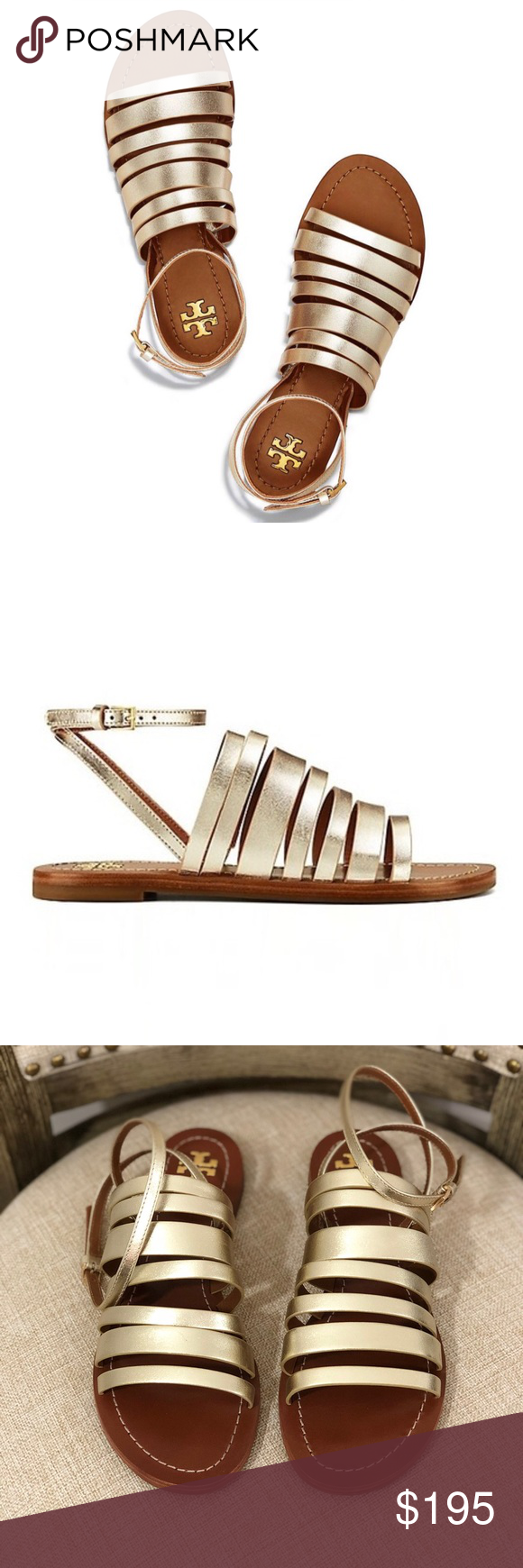 9dd889e61a5 Tory Burch Patos Ankle Strap Gladiator Sandal Gold - Brand  Tory Burch -  Style  Patos Ankle Strap Gladiator Sandals - Condition  Excellent used  condition ...