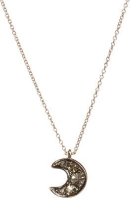 Love diamonds 18ct rose-gold and diamond moon pendant necklace