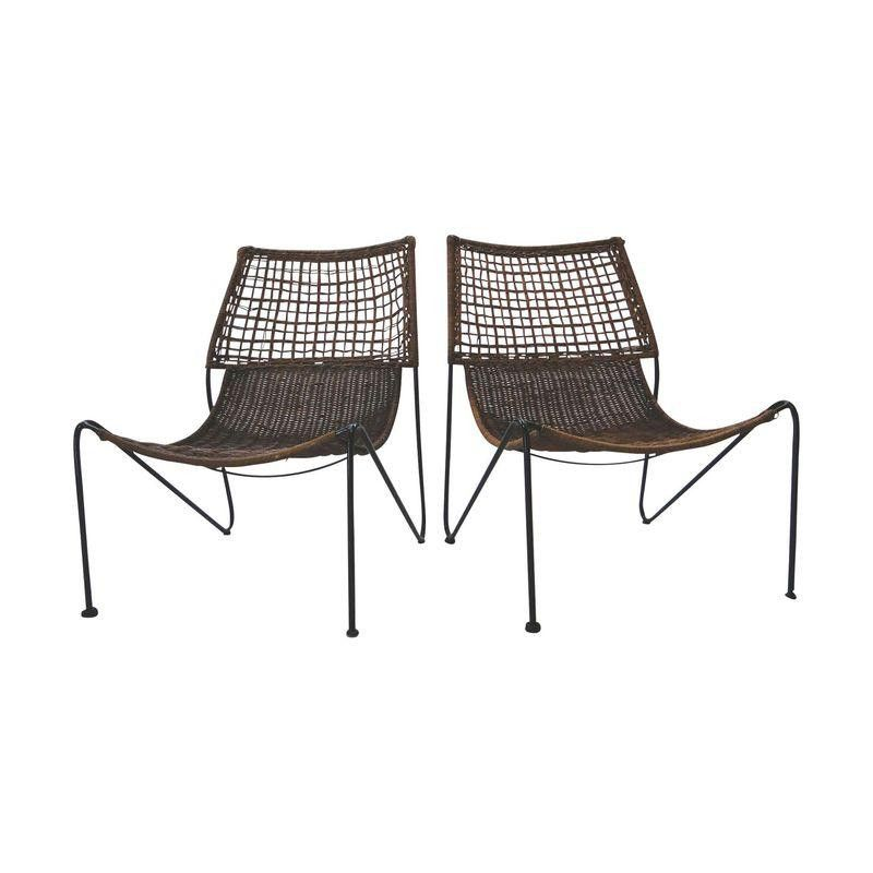 Modernist Wrought Iron Wicker Chairs