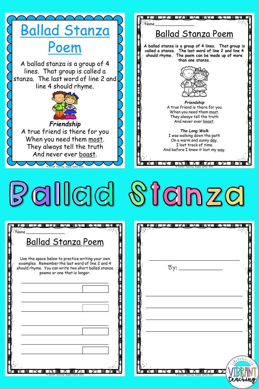 Ballad Stanza Poems For Kids In 2020 Poem Activities Poetry For Kids Poetry Writing Activities