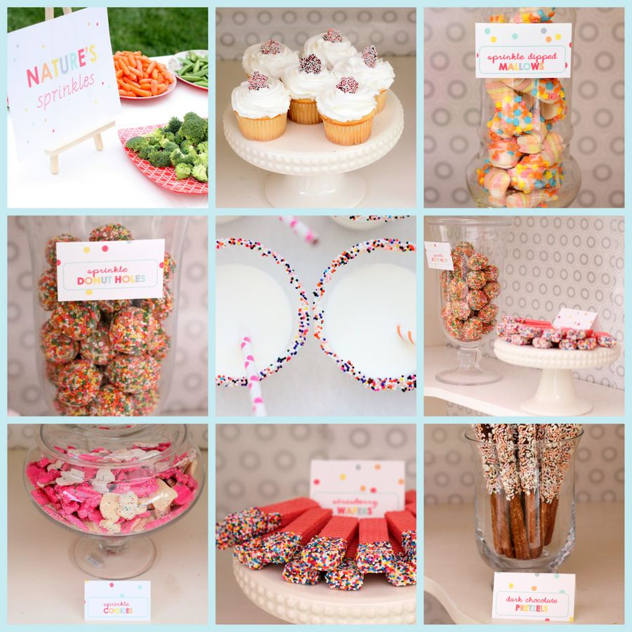 """""""sprinkled with love"""" party: menu included- sprinkle dipped strawberry wafers, dark chocolate and white chocolate sprinkle dipped pretzels, sprinkled donut holes, vanilla cupcakes with sprinkled toppers, sprinkle animal cookies, and sprinkle dipped marshmallows."""