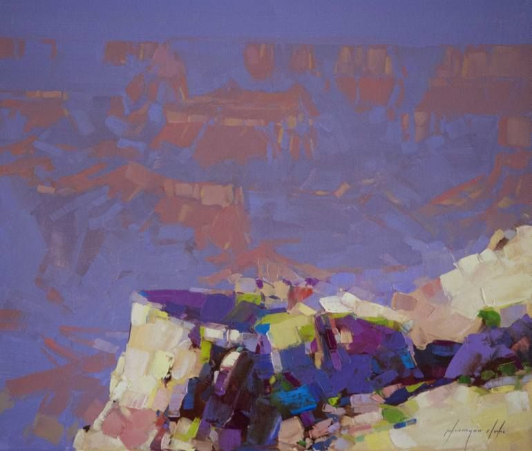 Grand Canyon Oil painting on Canvas One of a kind Signed Certificate - new certificate of authenticity painting