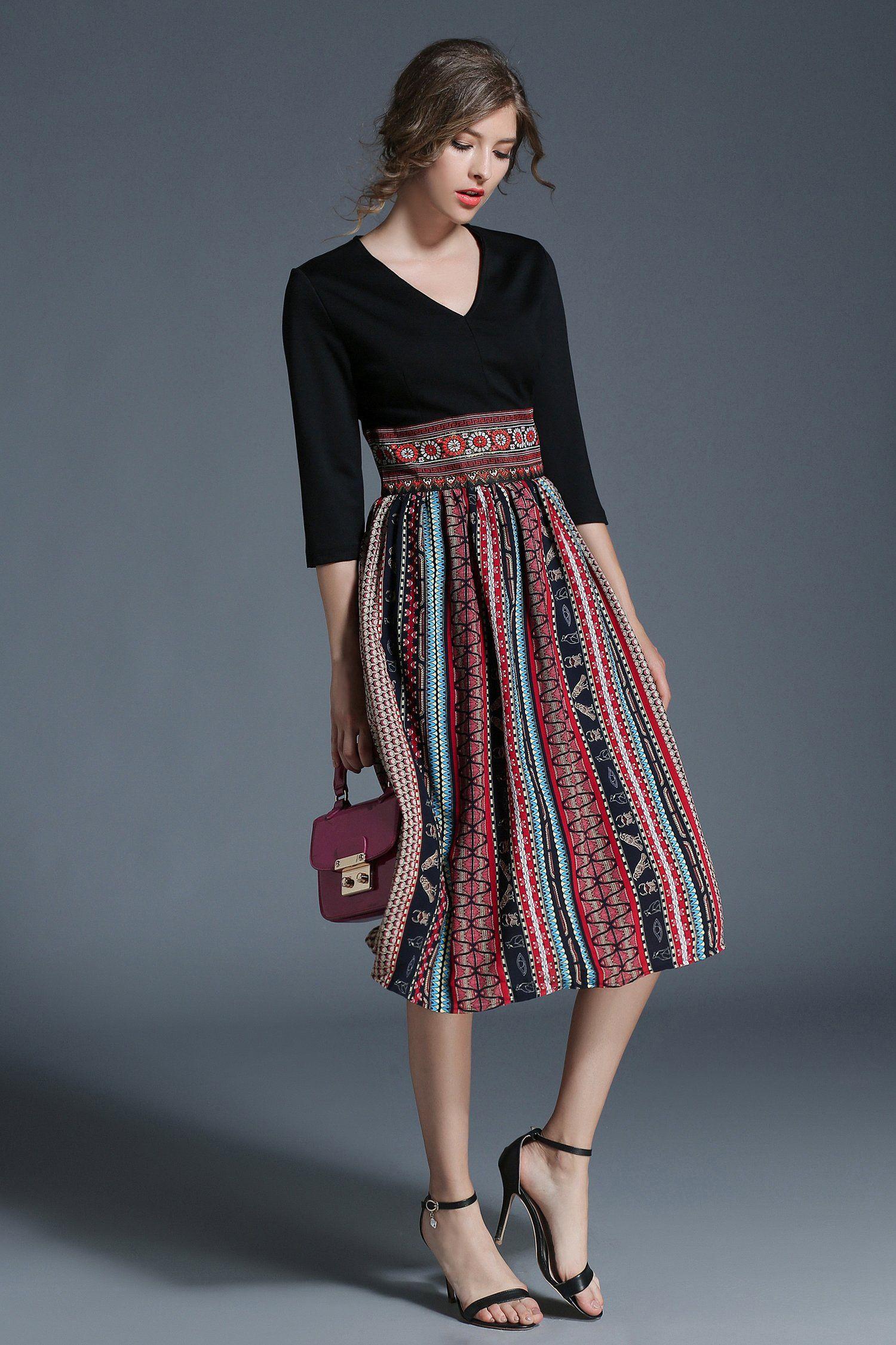Ethnic aline vneck sleeve striped midi dress products