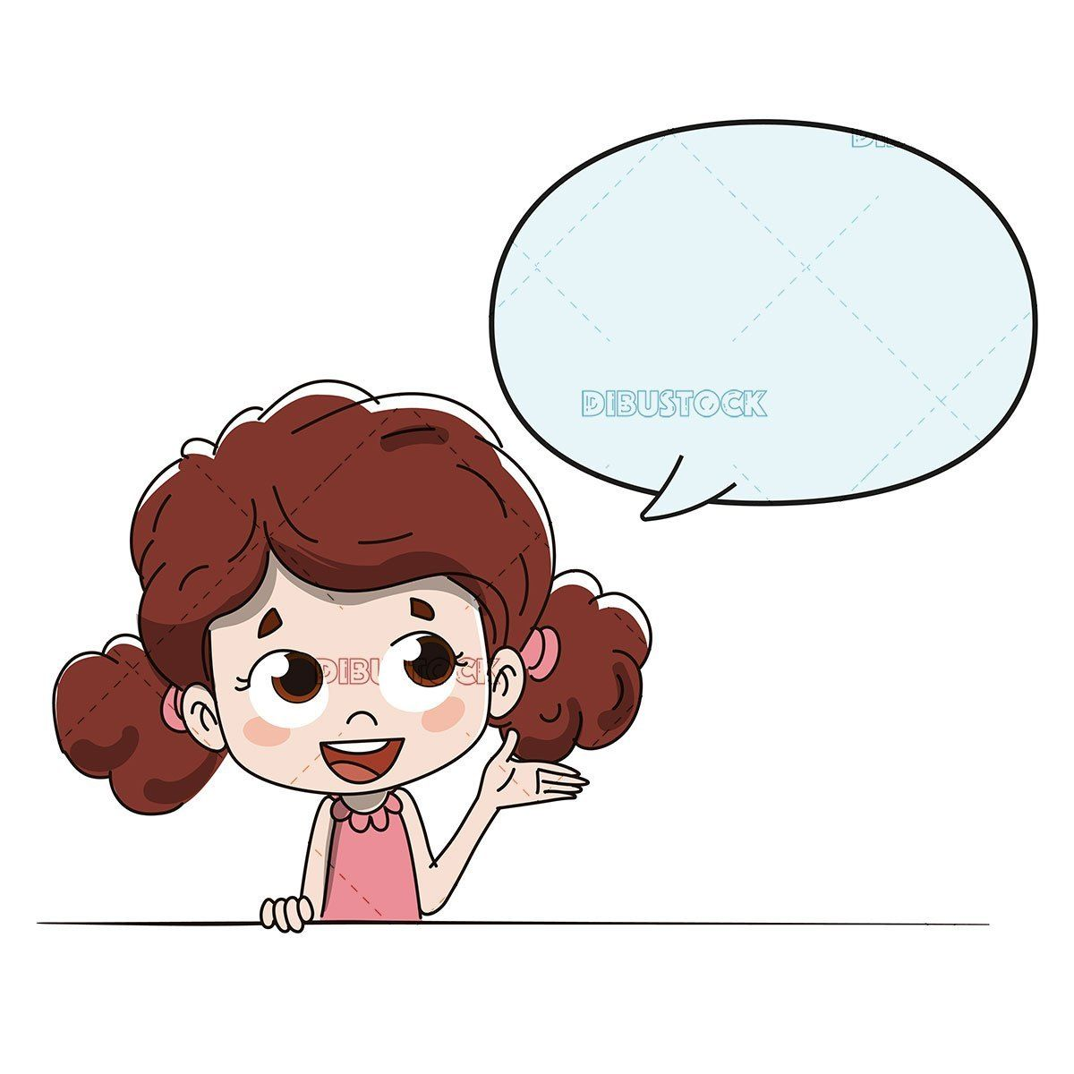 Girl Talking Or Giving Directions With A Comic Balloon Boy And Girl Drawing Comic Balloon Art Drawings For Kids