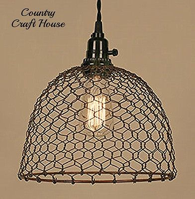 Primitive Country Farmhouse Chic RUSTY CHICKEN WIRE PENDANT LIGHT Ceiling Lamp
